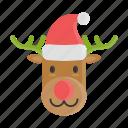 christmas, hat, reindeer, rudolf, xmas