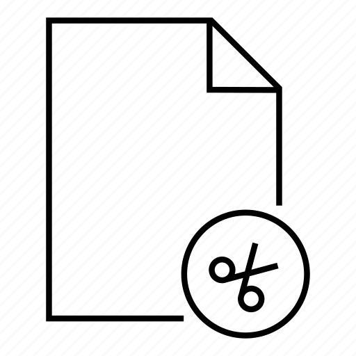 cut file, cutting, document, extension, file, paper cut, scissors icon