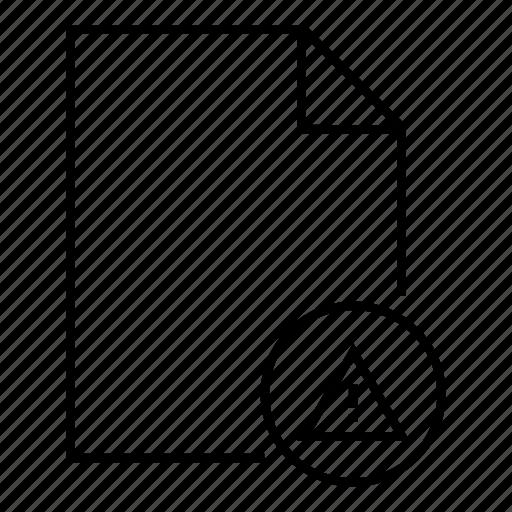danger, document, error document, file, format, office, warning document icon