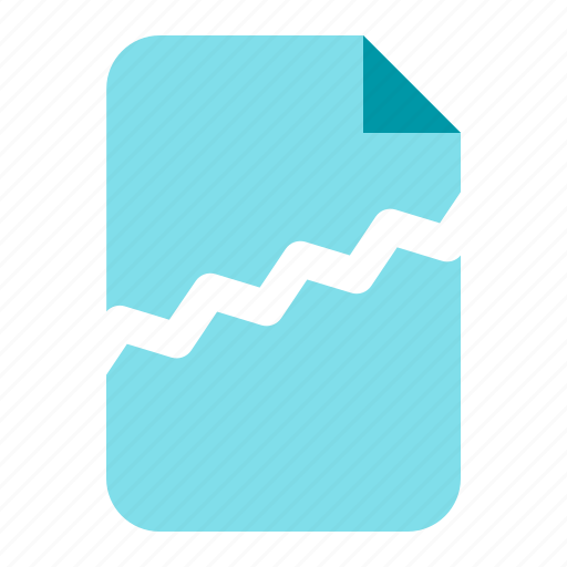 corupt, crack, damage, document icon