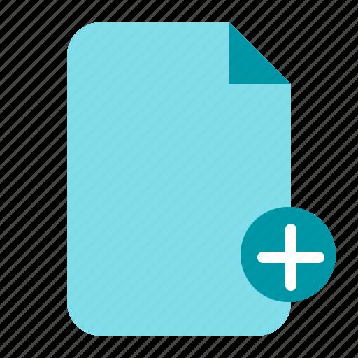 add, add document, add file, document, paper icon