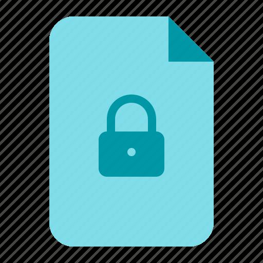 document, lock, password, secure icon
