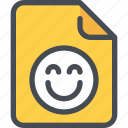 document, emotion, face, file, happy, paper icon