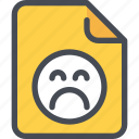 document, emotion, face, file, paper, sad icon
