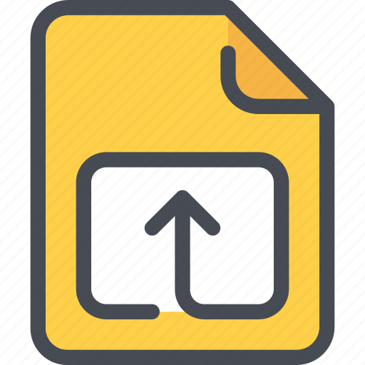 arrow, document, file, paper, upload icon