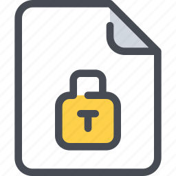 document, file, padlock, paper, secure, security icon