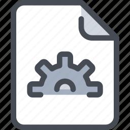 document, file, gear, paper, process icon