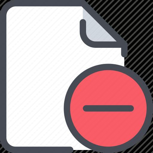 document, file, paper, remove icon