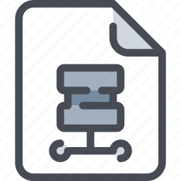 database, document, file, paper, server icon