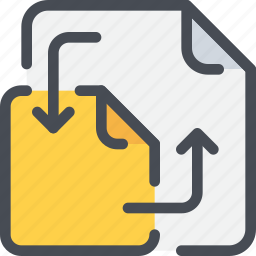 arrow, document, exchange, file, paper, share, sharing icon