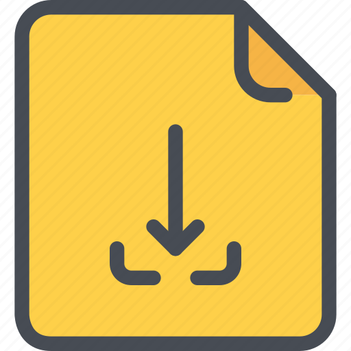 arrow, document, download, file, paper icon