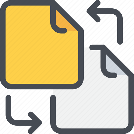 arrow, document, exchange, file, paper, sharing icon