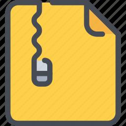 document, file, management, paper, zip icon