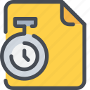 document, file, managment, paper, time, timer icon