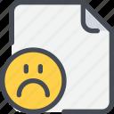 document, emotion, face, file, paper, sad icon