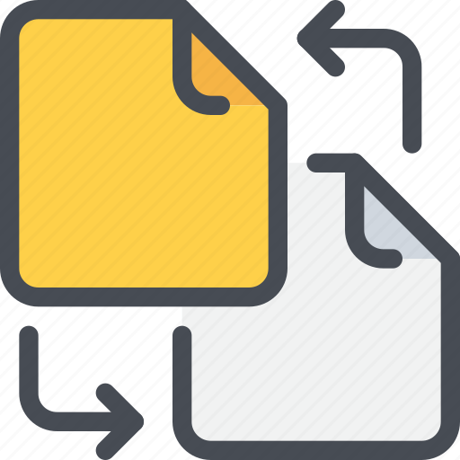 arrow, document, exchange, file, office, paper, sharing icon