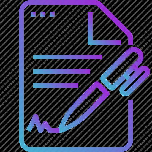 document, file, paper, pen, text, write icon