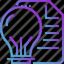 light, idea, paper, file, bulb, document icon