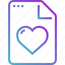 document, file, heart, love, paper icon