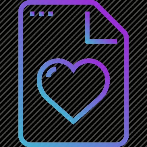 Heart, paper, love, document, file icon