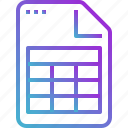 excel, paper, sheet, document, file icon