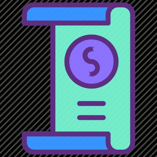 document, dollar, invoice, money, tax icon