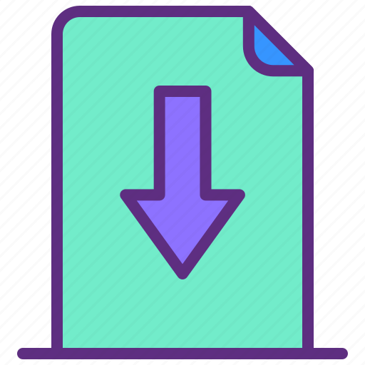 Arrow, document, down, download, file icon - Download on Iconfinder