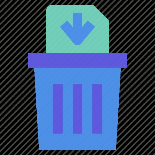 bin, delete, file, permanently, trash icon