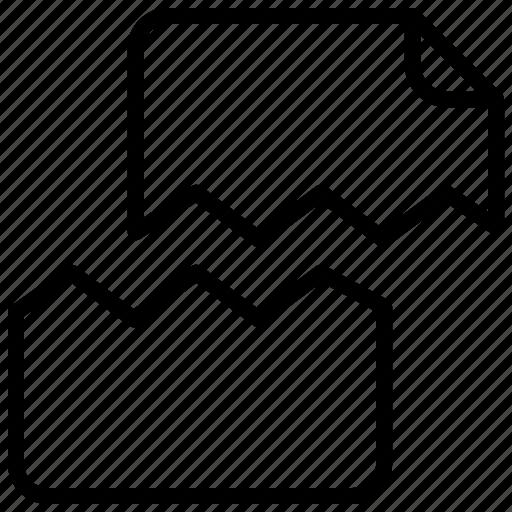 broken, cut, document, file, paper icon
