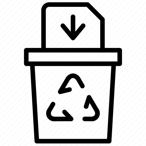 arrow, bin, file, recycle, trash icon