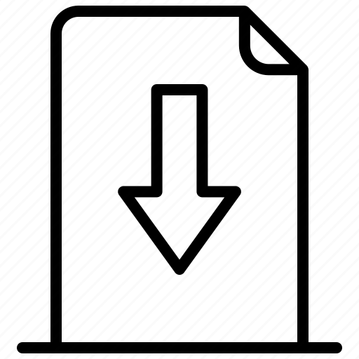 arrow, document, down, download, file icon