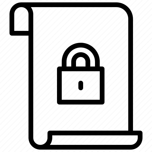 document, file, padlock icon