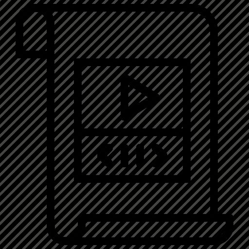 document, file, file type, folder, paper, video icon