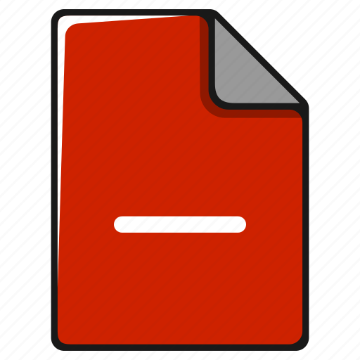 delete, documents, file, format, minus, paper icon