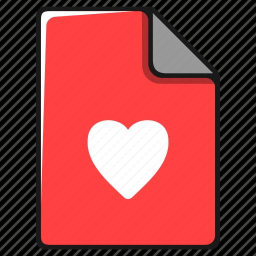 documents, favorite, file, heart, like, love icon