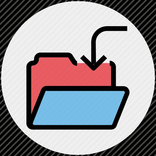download, folder, in, inside, interface, open icon