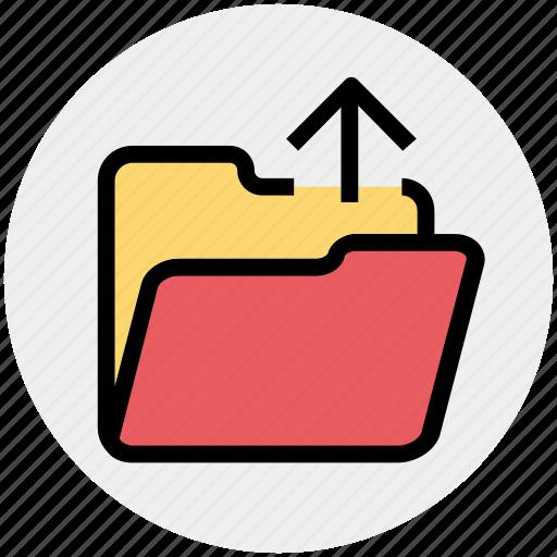 arrow, folder, interface, open, out, outside, upload icon