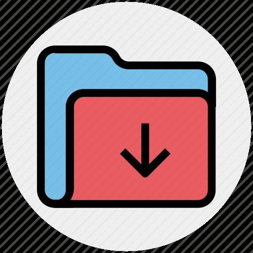 arrow, download, folder, in, inside, interface, open icon