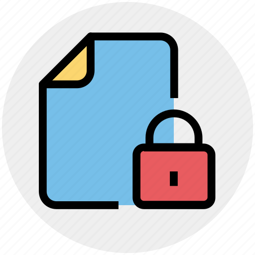 document, file, format, lock file, locked icon