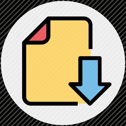 arrow, down, download, file, move icon