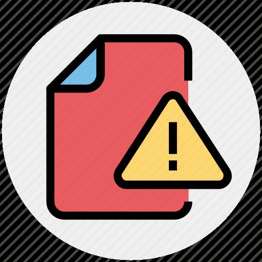 alert, document, document warning, file, warning icon