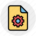 document, file, gear, setting, setup, system icon