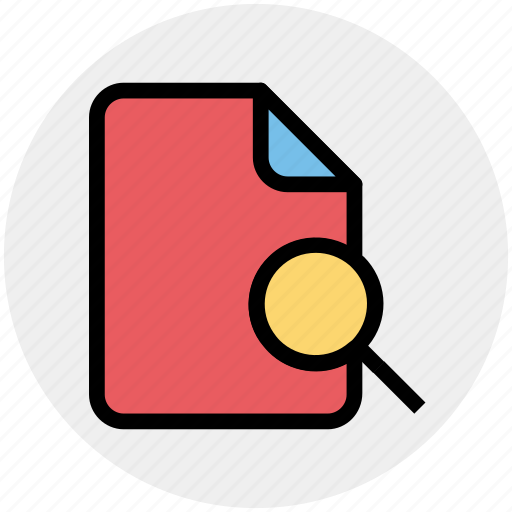 document, file, magnifier, search, searching icon
