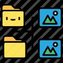 document, file, folder, image folder icon