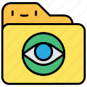 eye, file and folder, searching, show, view, visual icon