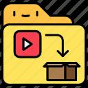 box, file, folder, play, shipping icon