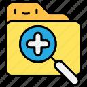 file, folder, megnifier, search, zoom, zoom in icon