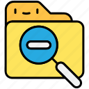 file, folder, megnifier, search, zoom, zoom out icon