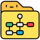file and folder, flow chart, management, planning icon