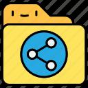 document, file, folder, share icon